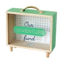 1pc Piggy Bank Portable Handle Wooden Nordic Style Saving Pot Sundries Box Money Box Storage Box for Kids Boys(China)