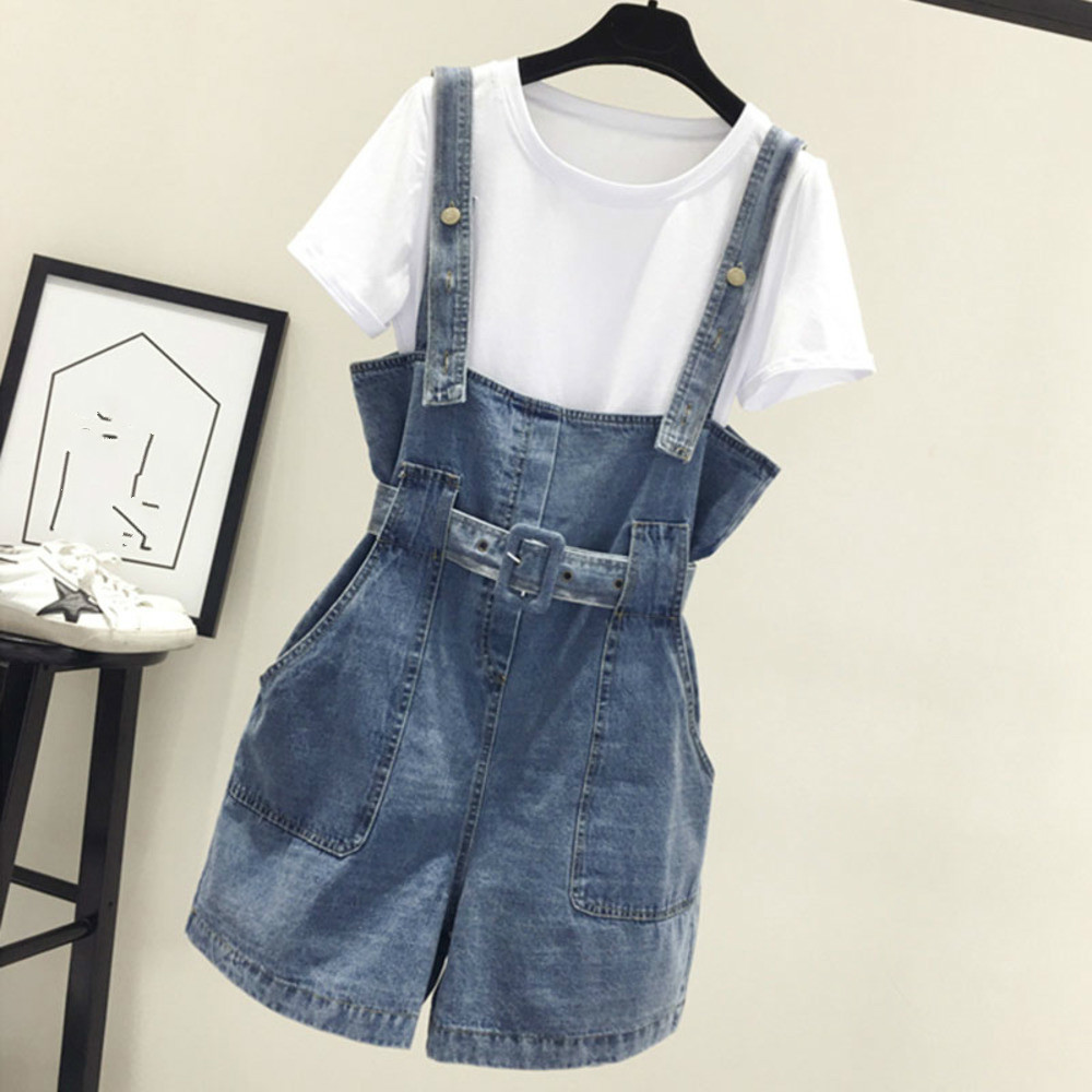 2019 Summer Women Clothing Denim Playsuits Strap Rompers Shorts Loose Casual Overalls Shorts Female Playsuits