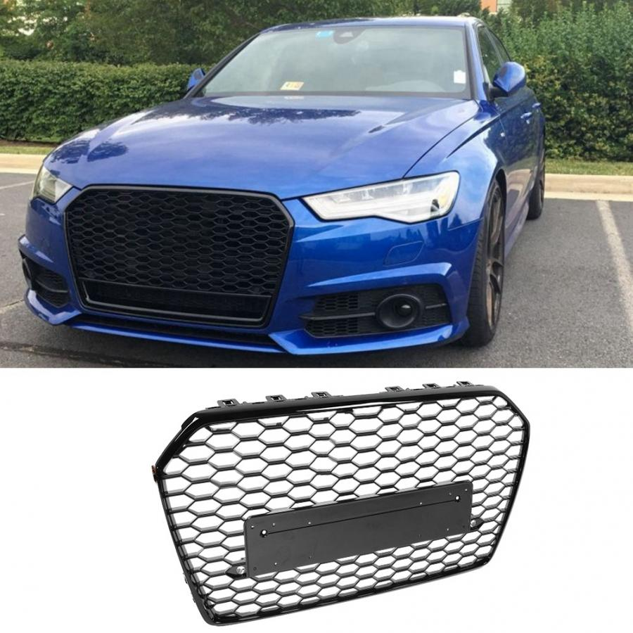 RS Style Grill Black Grille Camera Holder For 2016 16 17 18 Audi A6 S6