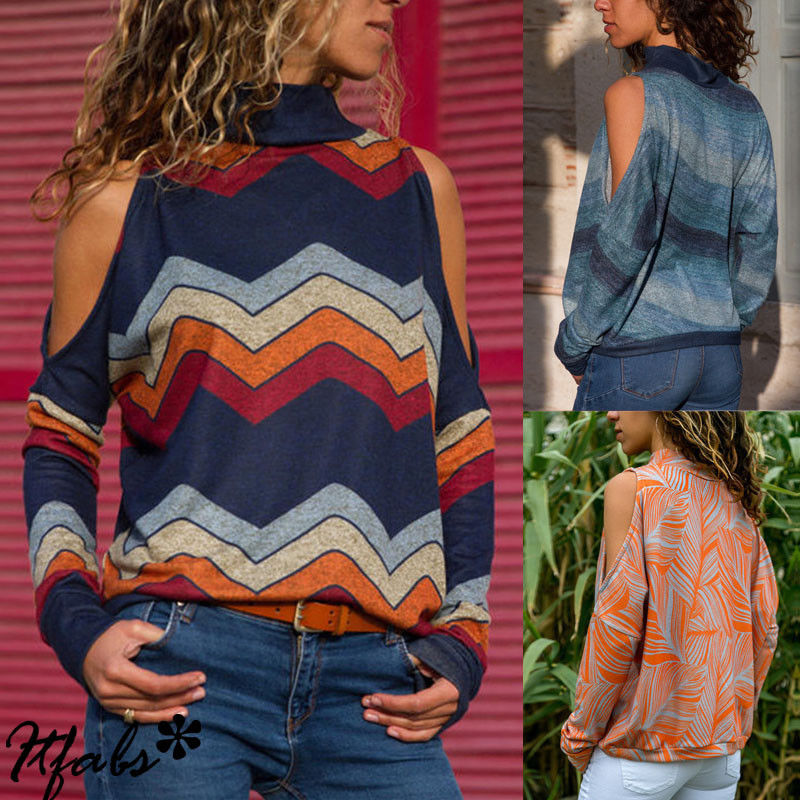 Women/'s Cold Shoulder Turtle Neck Cut Out Long Sleeve Sweater Tops Blouse Jumper