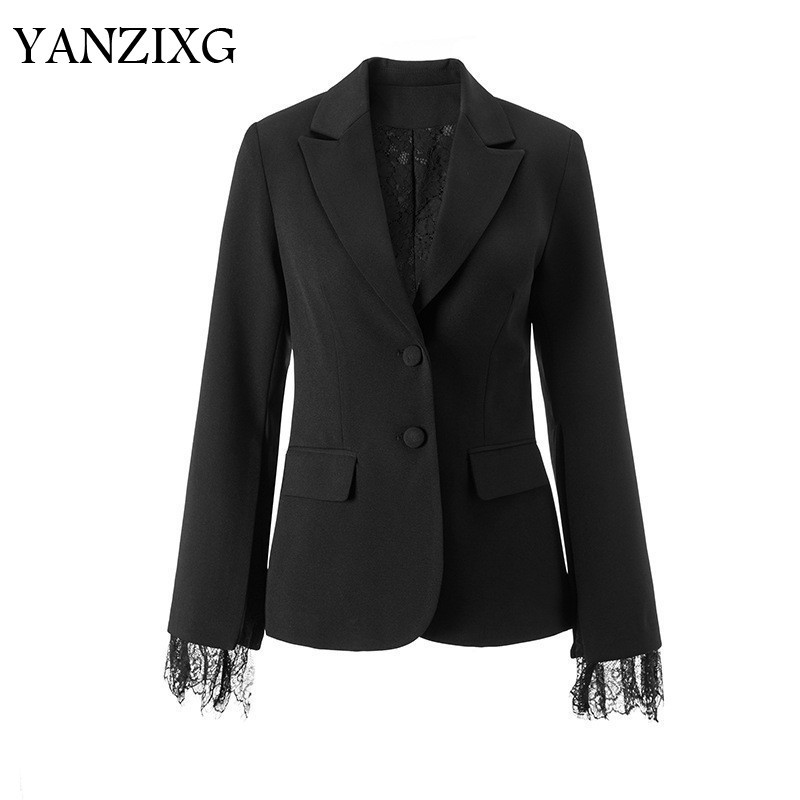 2019 New Summer Fashion Women Clothes Lace Vent Sleeve Turn-down Collar High Waist Double Buttons Blazer R517