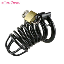 Buy Metal Penis Cock Ring Chastity Cage Lock Penis Ring Delay Ejaculation Adult Toys Dick Cage Ring Male Chastity Device Erotic Toys
