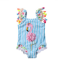 유아 Kids Girls Cartoon Flamingo Printed Bikini Baby Girls 술 Blue Striped 수영복 One-piece Swimsuit 비치 Bathing 한 벌(China)