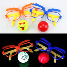 637cf216d9 2019 Funny Clown LED Flashing Glow Glasses Women Kids Children Light Up  Glasses Christmas Glow Party Supplies