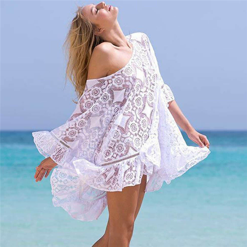Womens Lace Crochet Blouse Female Summer Loose Beachwear Lace Cover-up Blouses Kaftan Shirt Tops Holiday Sea Side Clothes New(China)