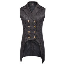 Men's Steampunk Gothic Sleeveless Lapel Collar Double-Breasted Jacquard Coat Jacket high-low hem