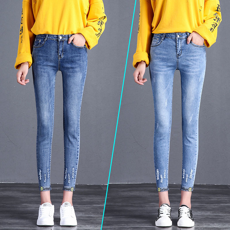 2019 New Autumn Elastic High Waisted Skinny Stretch Wear Out Jeans Women Retro Fashion Blue Pencil Girl's Pants Plus Size G3P7