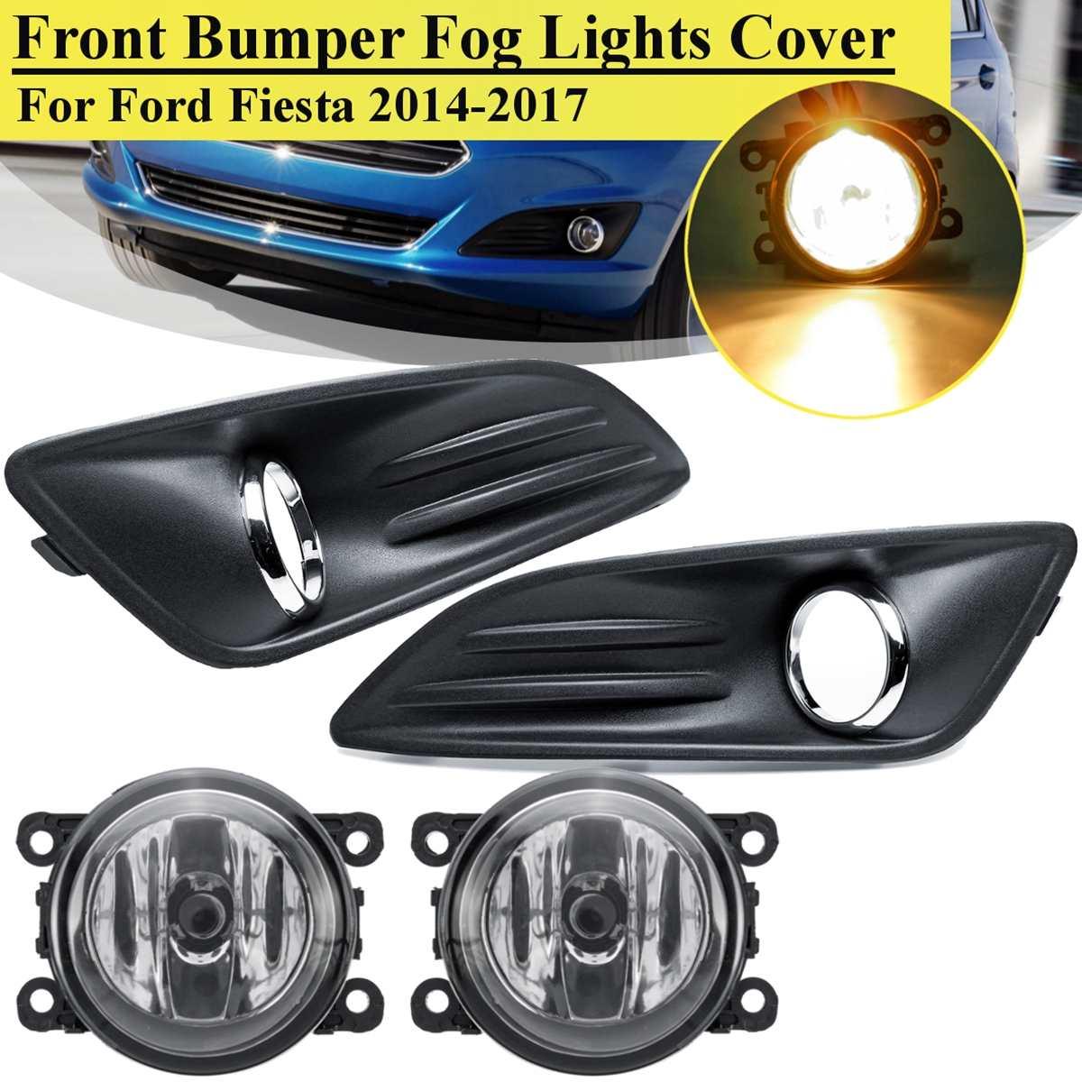 Lamp Kit 4pcs For 2014 Ford Fiesta Front Bumper Fog Light Cover Grille