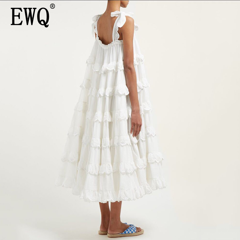 [EWQ]2019 Summer Styles Fashion Women Clothes loose Ruffles Straps  Halter Collar Ruffles Cake Dresses Female Huge Bottoms WF847