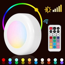 Wireless LED Puck Light RGB 12 Colors Wall Light Dimmable Night Hall Lamp Home Indoor Wall LED Night Light(China)