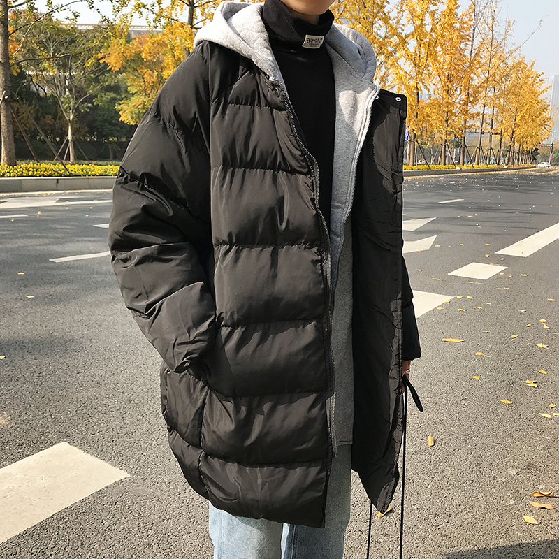 2018 New Men's Trend Winter Clothes Fake Two Pieces In The Long Thick Cotton Jacket Youth Popular Party Travel