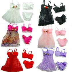 1 комплект, сексуальные пижамы, цветные 3 в 1, одежда, нижнее белье, бюстгальтер, кружевное платье, домашняя одежда, аксессуары, Одежда для кукл...