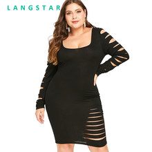 Langstar spring Autumn Plus Size Ladder Cut Out Sleeve Ripped Bodycon Women s  Dress Knee-Length Scoop Neck Long Sleeves Dresses bba1f6427e5a