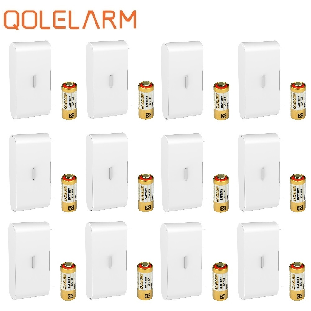 Qolelarm 4/12 pcs each lot free shipping 433MHz home glass break wireless vibration detector door window alarm sensor with SOS (China)