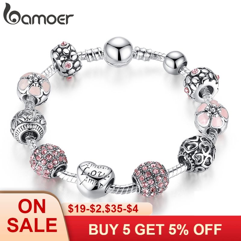 BAMOER Antique Silver Charm Bracelet Bangle with Love and Flower Beads Women Wedding Jewelry 4 Colors