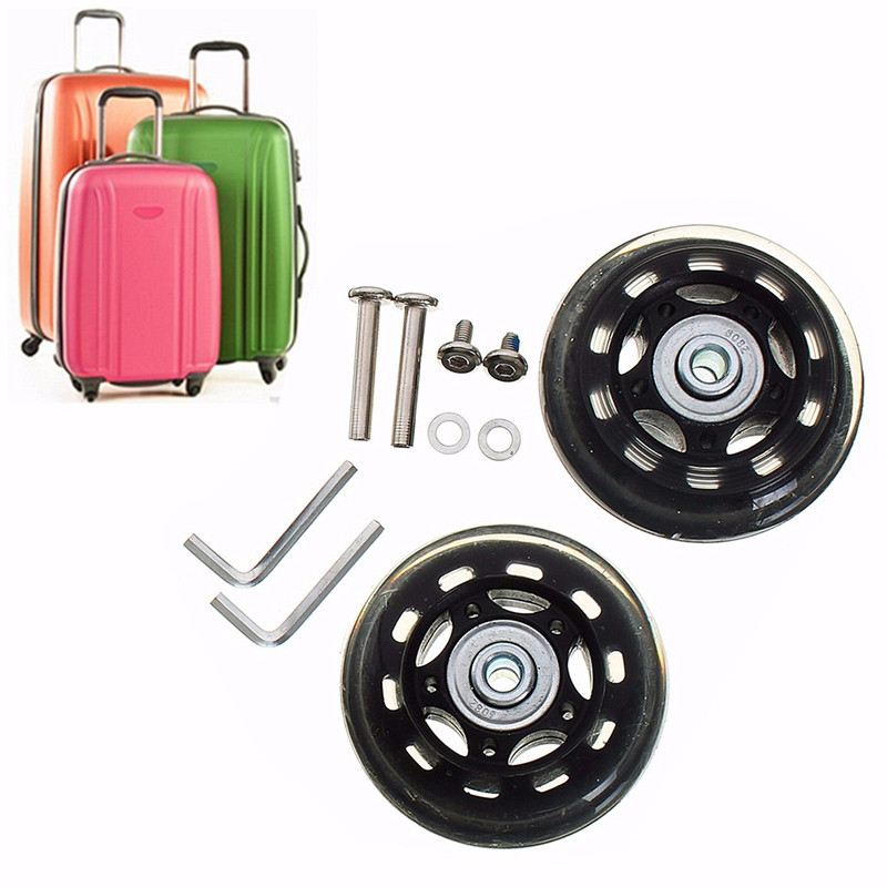 1 Pair Rubber Universal Suitcase Wheels with Screws Wrench Bearing Axles Repair OD 45mm