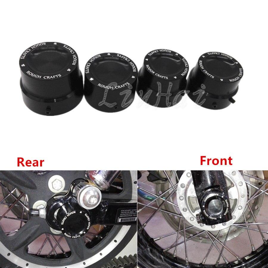 2 pcs Noir Moto Couvercle d/écrou de lessieu avant Couvercle CNC Couvercle d/écrou en aluminium Kit Bolt pour Harley Touring Dyna XL XG Softail