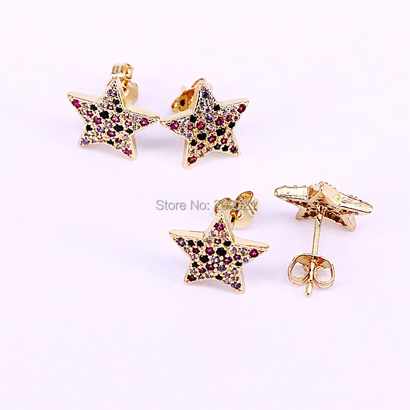 8Pairs New Arrival CZ Micro Pave For Women Jewelry Unique Design Star Shape Stud Earrings