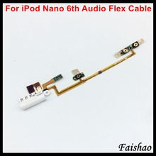 Flex-Cable iPod Nano Power Replacement Volume-Button Faishao for 6-6th/gen White Audio-Jack