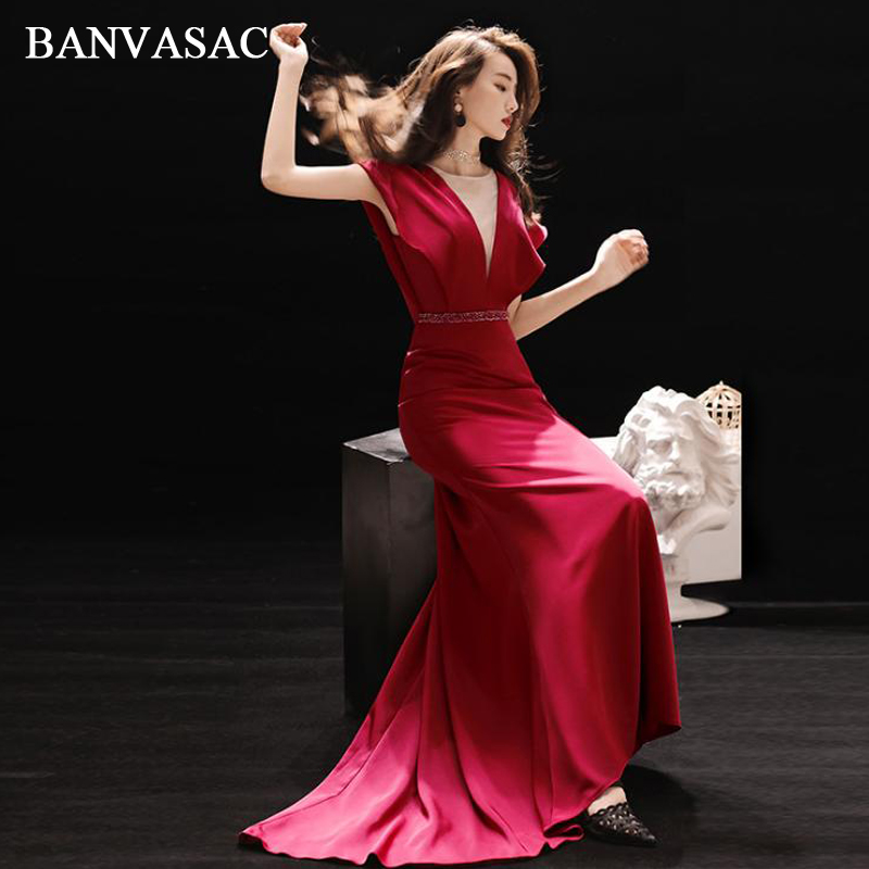 BANVASAC Illusion O Neck Crystal Sash Sweep Train Mermaid Long Evening Dresses Party Short Sleeve Backless Prom Gowns