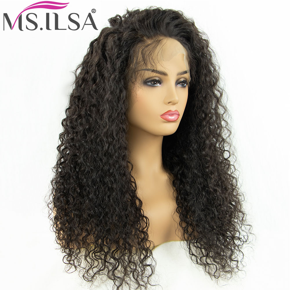 MS.ILSA Human-Hair Glueless Full-Lace 250%Density Wig Women Curly for Black Pre-Plucked title=