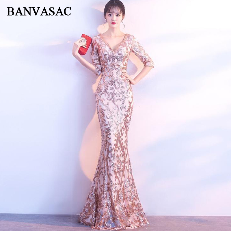 BANVASAC Deep V Neck 2019 Sequined Mermaid Long Evening Dresses Party Half Sleeve Illusion Zipper Back Prom Gowns