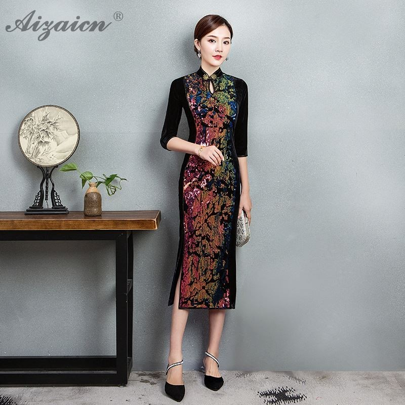 Fashion Oriental Style Evening Party Dresses Velvet Splice Qi Pao Traditional Chinese Dress Women Qipao Wedding Cheongsam Sexy
