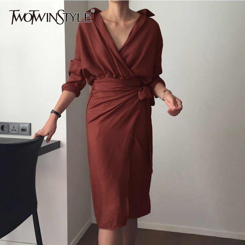 TWOTWINSTYLE Autumn Women's Dresses Long Sleeve Bandage V Neck High Waist Midi Shirt Dress Female Elegant Fashion Korean 2018