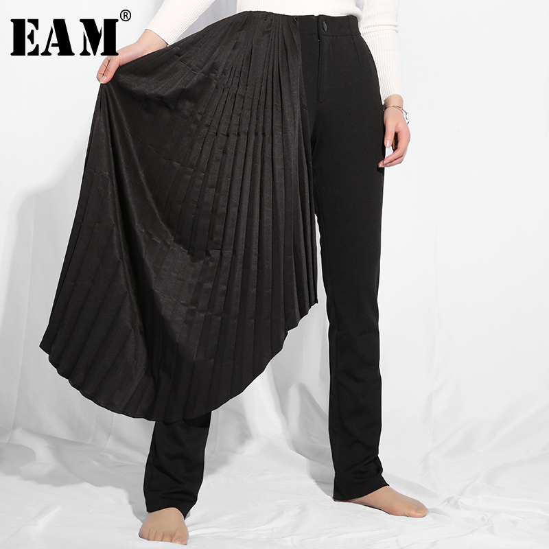 [EAM] 2019 New Spring Summer High Elastic Waist Black Patch Irregular Pleated Stitch Loose Pants Women Trousers Fashion JO28