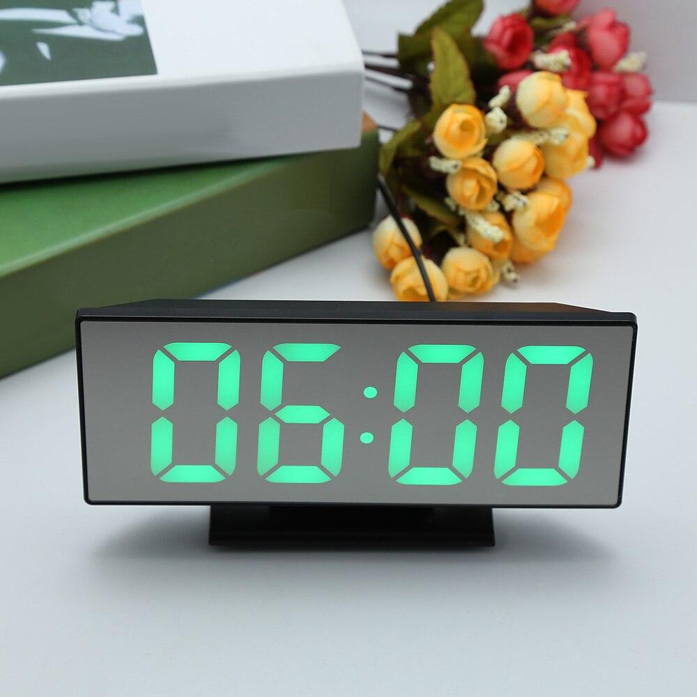 Digital Mirror Surface Alarm Clock with Large LED Display USB Port Digital Table Clock Temperature Display Home Decoration Clock