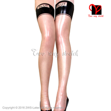 Buy Sexy Latex stockings transparent natural black trims knee long Rubber thigh high tights Letter Decoration WZ-032