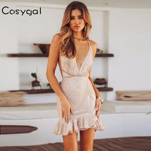 COSYGAL 2018 Summer Lady Bangage Dress Sling Sleeveless Backless Sexy Women  Dresses V-Neck Nightclub Sequins Bodycon Dress 57f1c6ba419c