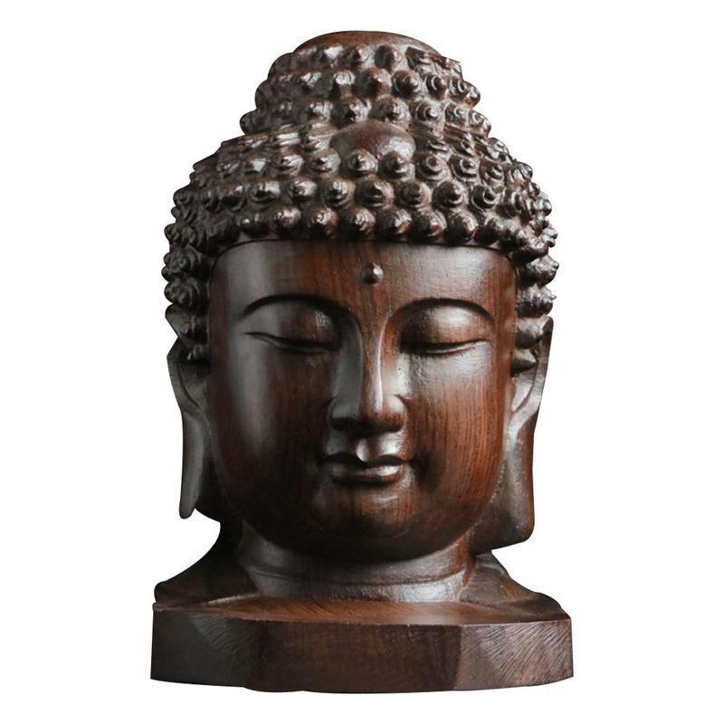 """11/"""" China Boxwood Wood Sakyamuni Tathagata Amitabha Buddha flammule Lotus Statue"""