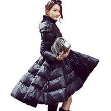 2ace226915 Kobiety moda Zima Dół Bawełna gruby Ciepły Długi Slim Wodoodporna Płaszcz  Kobiet Big Swing Panie Śnieg Znosić Puszyste Spódnica .