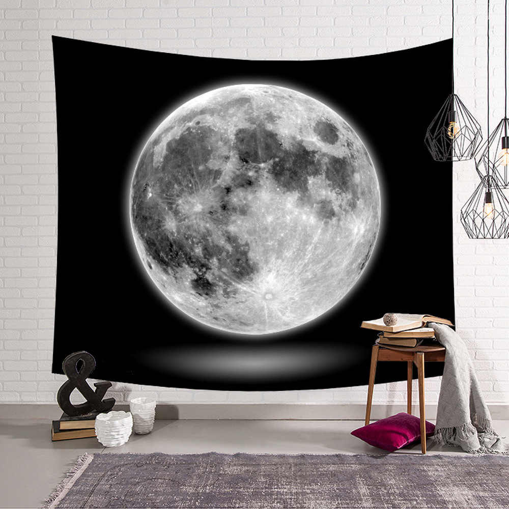 Space Moon Print Wall Tapestry Wall Hanging Starry Sky Living Room Polyester Pattern Decorative Bedspread Wall Blanket