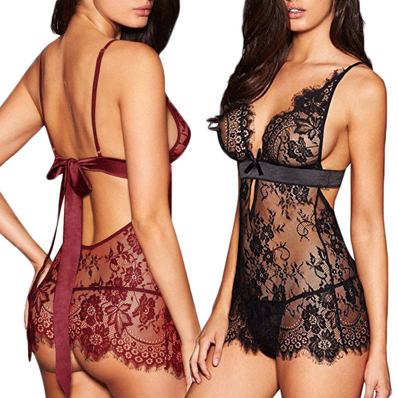 2019 New Woman Female Exotic Sexy Lingerie Lace Dress Babydoll Women Underwear Nightwear Sleepwear Plus Size S-XL(China)