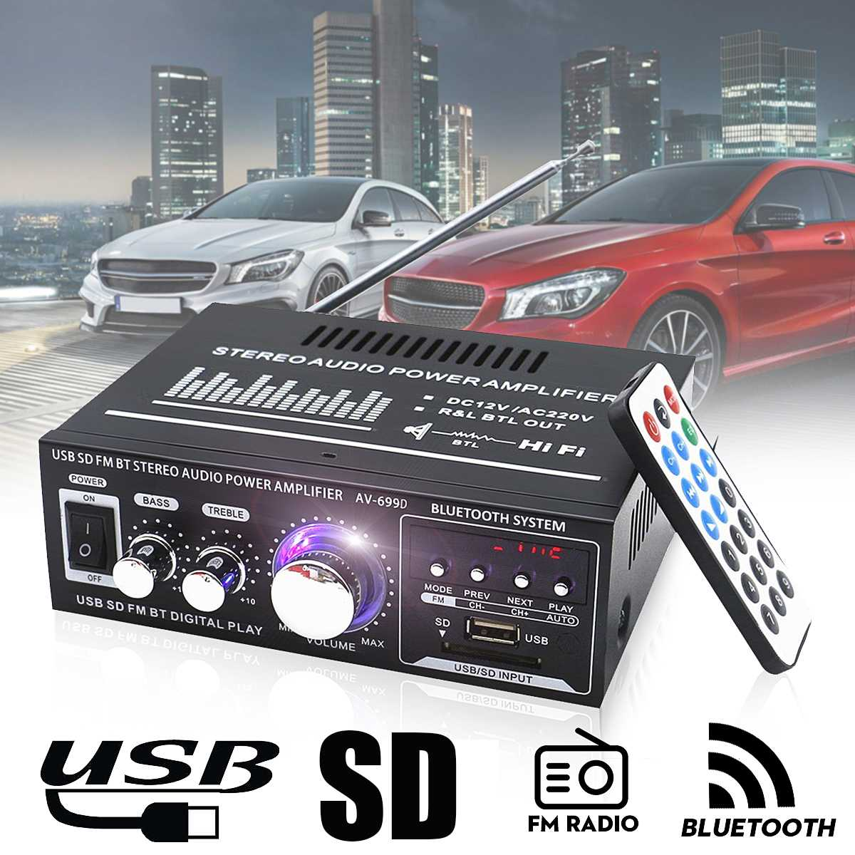 Mini Hi-Fi 600W 2 CH Stereo Audio Power Amplifier USB SD FM for Car Auto