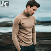 KUEGOU Sweater Men Pullover Jumper Turtleneck Knitted Plain Korean-Style Male Casual