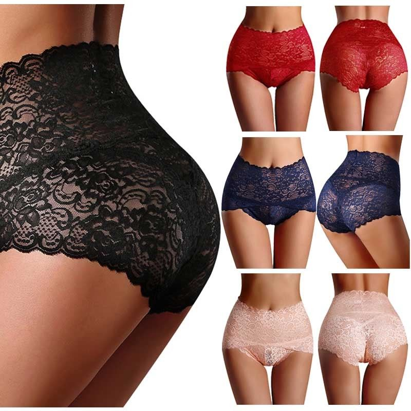 2019 New Women Sexy Thong High Waist Knicker Lingerie Lace Floral Brief Panties Underwear Color New(China)