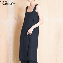 Celmia Plus Size 5XL Women Retro Linen Dress 2019 Summer Sexy Strap  Suspender Dresses Buttons Casual f1f7bb8cf29f