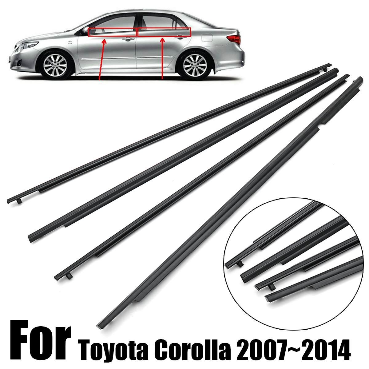 Weatherstrip Window Seal for 2009-2012 Toyota Corolla Weatherproof Outside Trim Seal Belt 4Pcs Black