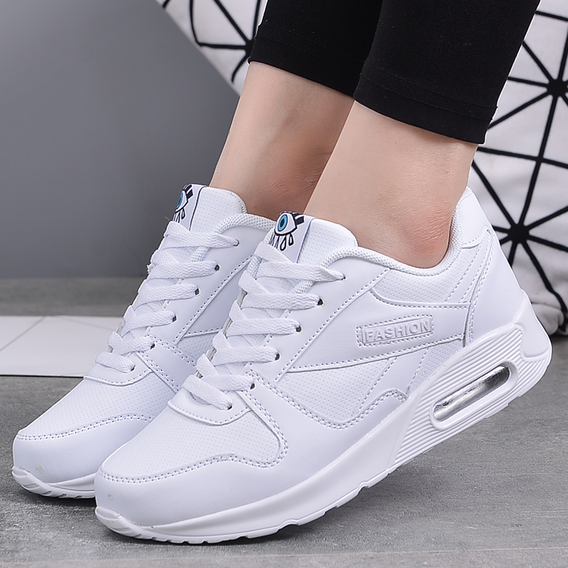 Sneakers Sport-Shoes Air-Cushion Women Trainers Outdoor White Ladies Breathable PU title=
