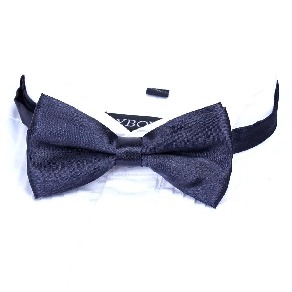 Mens Formal Black White Bow Tie Silky Satin Tuxedo Wedding Dinner Dickie PreTied
