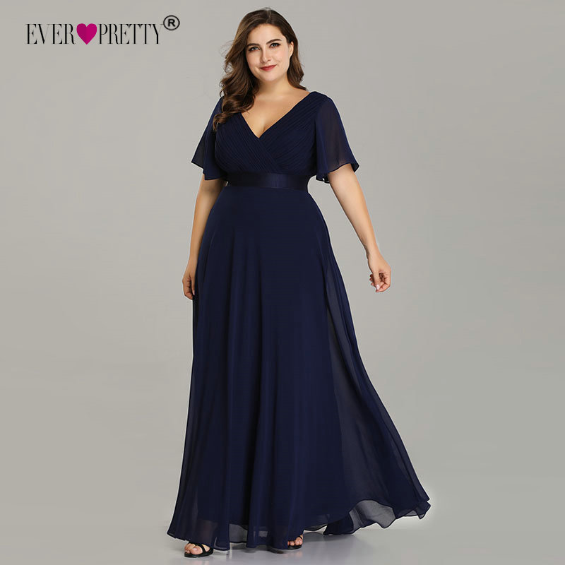Plus Size Evening Dresses Ever Pretty EP09890 Elegant V-Neck Ruffles Chiffon Formal Evening Gown Party Dress Robe De Soiree 2019(China)