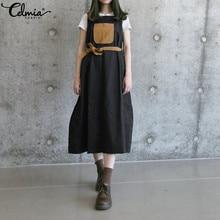 Women Vintage Pinafore Dress Celmia 2019 Summer Strap Vestidos Mujer Loose  Belted Splice Casual Bib Overalls 08b00f566df9