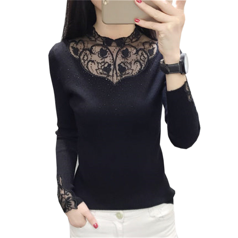 2018 New Autumn winter Elegant Knitted Sweaters Women Pullovers fashion lace O-neck Knitt Female Sweater RE0826