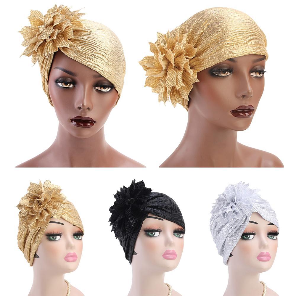 Women's Hats Muslim Pleat Turban Cap Indian Stretchy Glitter Hat Chemo Headscarf Women Hijab HaT HaT