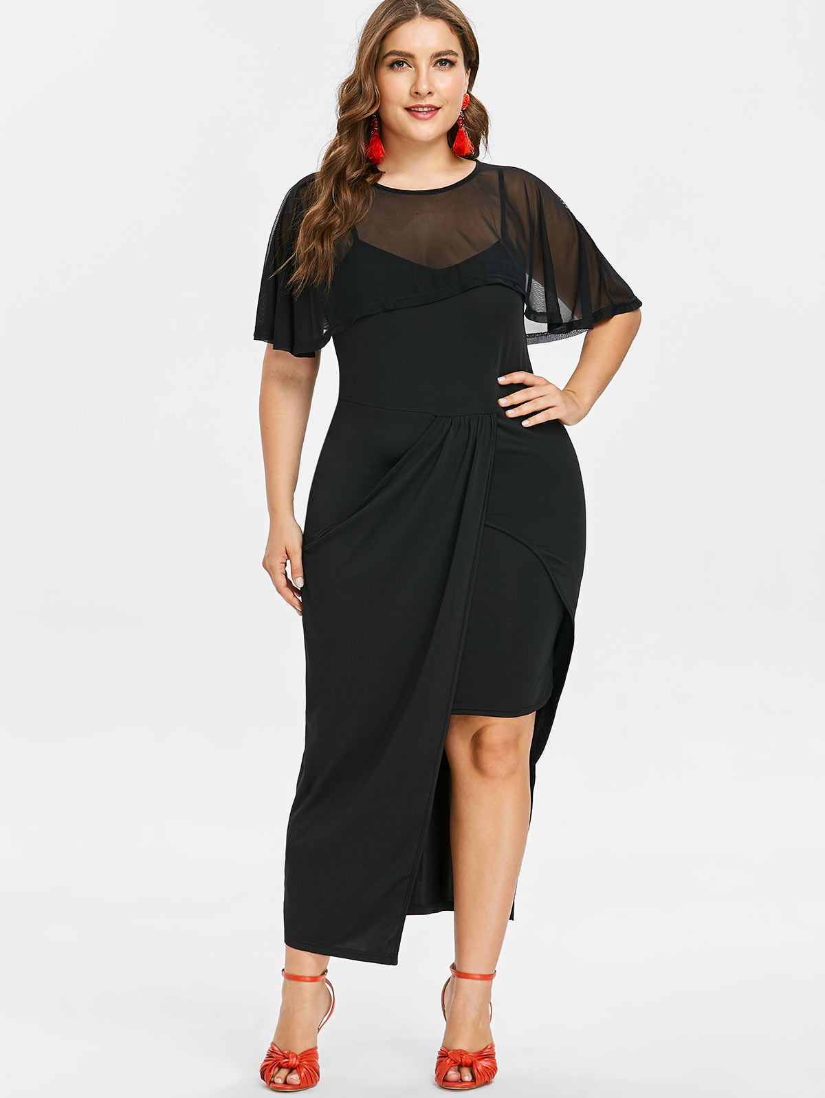 Kenancy Plus Size Flutter Sleeve Mesh Overlay Dress Female Autumn O Neck  Short Sleeve Ankle- cc2fa60bd046