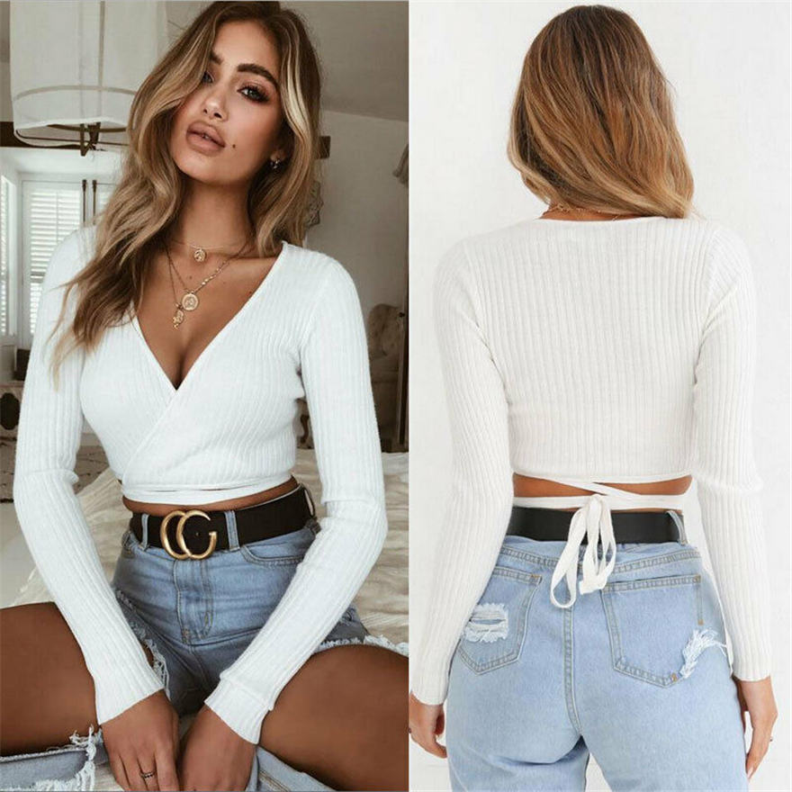Ladies New Long Sleeve Off Shoulders Chiffon Crop Top Womens Blouse UK S//M M//L