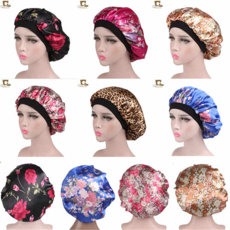 Hot Women Wide Band Shower Sleep Caps Satin Silk Bonnet Soft Satin Night Sleep Hat Hair Cap Lady Turban Printing New In Fashion